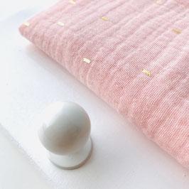 Garderobe MUSSELIN auf weißem Brett, PEACHY ROSA GOLD