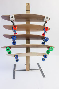 handcrafted board rack - stand oak raw steel
