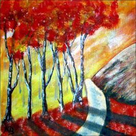 2016-11#05_Berglandschaft-Ölmalerei-Herbst-Berge-Felsen-Bäume-Wiese-Weg-Blumen-Ölbild-Ölgemälde