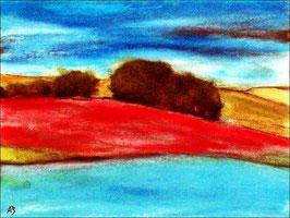 2018#04_Hügellandschaft, Bäume, Pastellmalerei, Gemälde, HügelFluss, See, Himmel, Wolken, Pastellgemälde, Moderne Malerei, Pastellbild