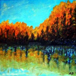 2017#32_Herbstlandschaft-Ölmalerei-See-Reflektionen-Bäume-Herbst-Landschaft-Himmel-Wasser-Ölbild-Ölgemälde
