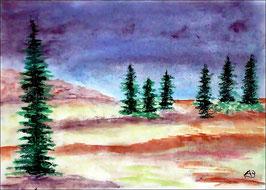 2017#62_Hügellandschaft, Bäume, Pastellgemälde, Wiese, Feldlandschaft, Kiefern, Tannen, Landschaftsbild, Hügel, Pastellmalerei, Pastellbild