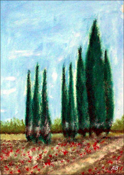 2018#38_Landschaft mit Zypressen, Ölgemälde, Landschaftsbild, Bäume, Wald, Zypressen,Felder,Wiese, Blumen, Feldweg, Ölmalerei, Ölbild