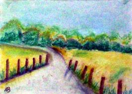 2018#52_Weg zum Wald, Pastellmalerei, Wald, Bäume, Weg, Felder, Gras, Büsche, Blumen, Landschaftsbild, Pastellgemälde, Pastellbild