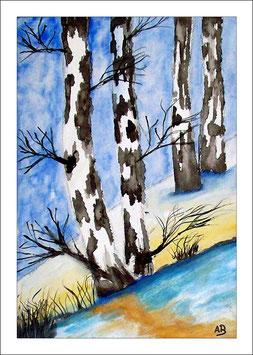 2017#23_Landschaft-Aquarellmalerei-Winterlandschaft-Berge-Schnee-Bäume-Birken-Wald-Hügel-Aquarellbild-Aquarellgemälde