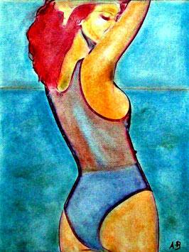 2018#26_Beach Girl, Pastellbild, Meer, Wolken, Strand, Frau, Feminin, Landschaftsbild, Pastellgemälde, Pastel Painting