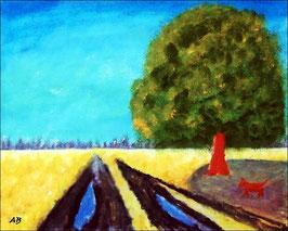 2017#29_Landschaft-Felder-Sommer-Ölmalerei-Bäume-Weg-Wasser-Baum-Hund-Landschaftsmalerei-Ölbild-Ölgemälde