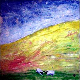 2017#18_Landschaft in Wales-Ölmalerei-Hügel-Wiese-Schafe-Sommer-Blumen--Hügellandschaft-Ölbild-Ölmalerei