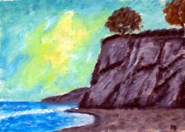 2018#39_Küstenlandschaft, Ölgemälde, Sonnenuntergang, Meer, Strand, Küste, Felsen, Bäume, Landschaftsbild, Ölmalerei, Ölbild