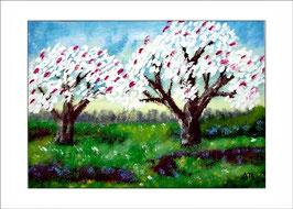 2016-02#09_Blühende Bäume im Frühling, Ölmalerei