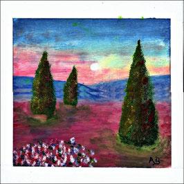 2016-01#04_Provence mit Zypressen, Ölmalerei