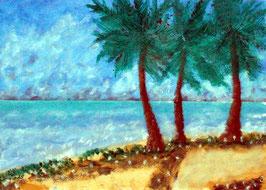 2018#47_Palmen am Strand,, Mischtechnikmalerei, Meer, Strand, Palmen, Bäume, Himmel, Blumen, Gras, Sand, Seascape, Ölfarbe, Pastellkreide, Mischtechnikgemälde
