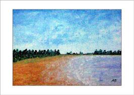2016-06#03_Landschaft-Meer-Nordseeküste-Bäume, Strand-Gelb-Blau-Grün-Ölmalerei-Gemälde