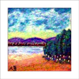 2016-06#09_Ölmalerei-Gebirgslandschaft mit See und Bäumen-Gemälde