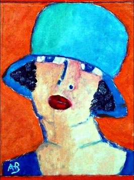 2017#17_Portrait-Frau-Ölmalerei-Hut-Blau-Feminal-Moderne Malerei-Ölbild-Ölgemälde