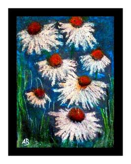 2017#53_Daisy Flowers-Gänseblümchen-Pastellmalerei-Blumen-Stillleben-Blumenbild-Moderne Malerei-Pastellbild-Pastellgemälde