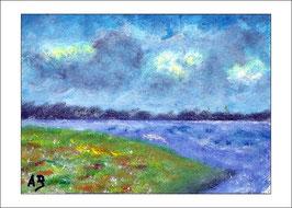 2016-10#02_Seelandschaft-Ölbild-Wald-Bäume-See-Wiese-Blumen-Meer-Ölmalerei-Ölgemälde