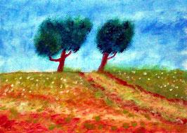 2018#49_Der Pfad, Ölgemälde, Berglandschaft, Hügel, Weg, Wiese, Bäume, Blumen, Landschaftsbild, Ölmalerei, Ölbild
