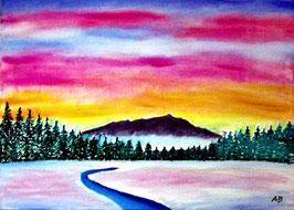 2017#01_Winterlandschaft-Ölmalerei-Sonnenuntergang-Berge-Nebel-Wald-Bäume-Fluss-Bach-Schnee-Ölbild-Ölgemälde