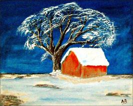 2016-12#07_Winterlandschaft-Ölmalerei-Landchaft-Berge-Schnee-Nacht-Baum-Hütte-Mond-Ölbild-Ölgemälde