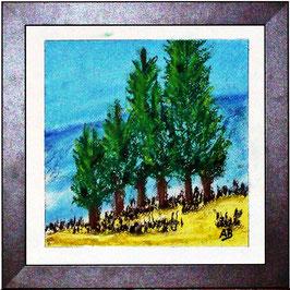 2017#57_Bäume in den Bergen, Pastellgemälde, Bäume, Berge, Hügel, Büsche, wiese, Gras, Himmel, Wolken, Pastellmalerei, Pastellbild