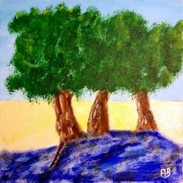 2019#31_Drei Bäume am Meer, Ölgemälde, Sonnenuntergang, Meer, Bäume, Wasser, moderne Malerei, Felsen, Küste, Landschaftsbild, Ölmalerei, Ölbild, moderne Kunst