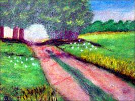 2018#21_Feldweg im Sommer, Acrylgemälde, Bäume, Blumen, Wiese, Feld, Feldweg, Landschaftsbild, Gras, Acrylmalerei, Acrylbild