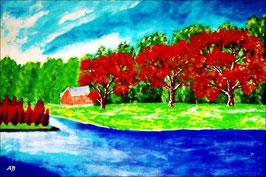 2017#39_Flusslandschaft-Acrylmalerei-Bäume-Wald-Haus-Wiese-Fluss-Wasser-Insel-Himmel-Wolken-See-Acrylbild-Acrylgemälde-Landschaftsmalerei