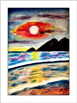 2016-04#08_Küstenlandschaft-Sonnenuntergang-Berge-Moderne Ölmalerei