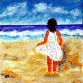 2017#37_Mädchen-Acrylmalerei-Strand-Himmel-Wolken-Landschaft-Meer-Wellen-Brandung-Kleid-Acrylbild-Moderne Malerei--Acrylgemälde