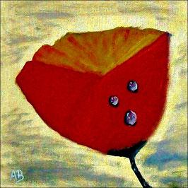 2017#08_Roter Mohn-Ölmalerei-Blume-Stillleben-Goldener Hintergrund-Wassertropfen-Moderbe Malerei-Ölbild-Ölgemälde