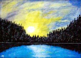 2017#38_Sonnenuntergang am See-See-Acrylmalerei-Himmel-Sonne-Wolken-Bäume-Wald-Spiegelung-Acrylbild-Landschaftsmalerei-Acrylgemälde
