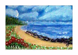 2016-08#05_Landschaft-Meer-Küste-Strand-Blumen-Steine-Bäume-Ölmalerei-Gemälde