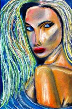 2017#59_Frauenportrait, Pastellgemälde, Frau, Lange Haare, Blond, Portrait,Weiblich, Figurativ, Feminale Malerei, Pastellmalerei, Pastellbild