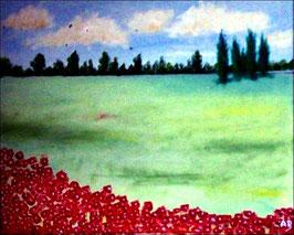2017#16_Landschaft-Weizenfeld-Ölmalerei-Wald-Bäume-Blumen-Sommer-Feld-Ölbild-Ölgemälde