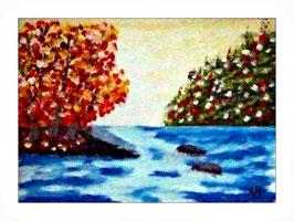 2016-08#09_Landschaft-Fluss-Bäume-Waldlandschaft-Wiese-Blumen-Steine-Felsen-Moderne Malerei-Ölmamalerei-Gemälde