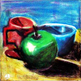 2017#56_Stillleben mit Apfel, Pott und blauer Schale, Grüner Apfel, Stillleben, Pastellmalerei, Roter Pott, Blaue Schale, Kaffeepott, Pastellgemälde, Paszellbild, Moderne Malerei