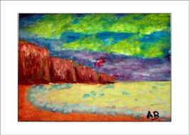 2016-05#08_Landschaft-Meer Küstenlandschaft-Strand-Steilküste-Sonnenuntergang-Impressionismus-Ölmalerei-Gemälde