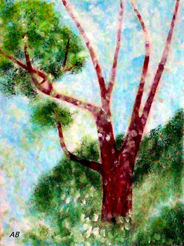 2018#59_Alter Baum, Ölgemälde, Baum, Berge, Natur, Bäume, Büsche, Gras, Pflanzen, Landschaftsbild, Ölmalerei, Ölbild