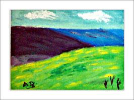 2016-04#07_Hügellandschaft mit gelbem Feld und schwarzen und blauen Hügeln-Ölmalerei