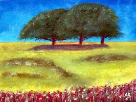 2018#50_Three Trees, Ölgemälde, Drei Bäume, Feld, Wiese, Natur, Gras, Blumen, Sommer, Landschaftsbild, Ölmalerei, Ölbild