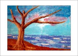 2016-01#09_Küstenlandschaft mit Herbstbaum, Ölmalerei