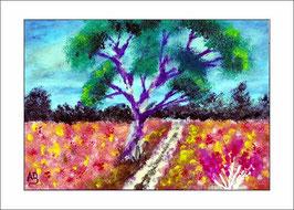2016-01#02_Blumenwiesen mit einsamen Baum, Ölmalerei, Wald, Blumen, Gras, Weg, Bäume, Büsche, Ölbild, Ölgemälde