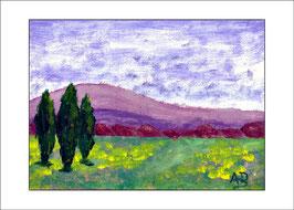 2016-03#21_Hügellandschaft mit Zypressen-Ölmalerei