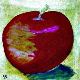 2017#07_Roter Apfel-Ölmalerei-Goldener Hintergrund-Stillleben-Moderne Malerei-Abstrakt-Ölbild-Ölgemälde