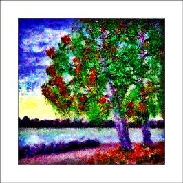 2016-06#06_Seelandschaft-Bäume am See-Weg und Büsche-Blumen-Ölmalerei-Gemälde