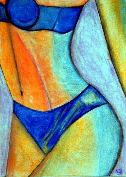 2019#02_Erottischer Frauenkörpe, Pastellgemälde, Frau, Akt, Erotik, Girl, Feminal, moderne Malerei, Pastellbild, Pastellmalerei
