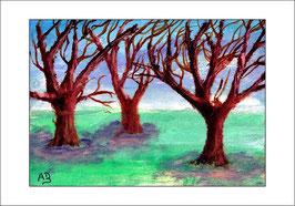 2015-12#02_Landschaft-Winter-Drei Winterbäume-Schnee-Ölmalerei