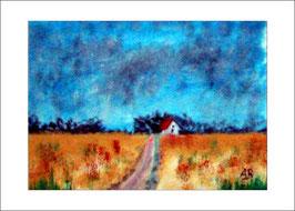 2016-10#05_Landschaft-Felder und Wiesen-Bäume-Ölmalerei-Ölbild-Wald-Blumen-Weg-Haus-Gemälde