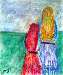 2018#43_Mutter und Tochter, Pastellmalerei, Figurativ, Frau, Mädchen, feminale Malerei, People, Landscape, Pastellgemälde, Pastellbild